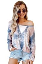 Blue Tie-dye Pullover Sweatshirt LC253998-5