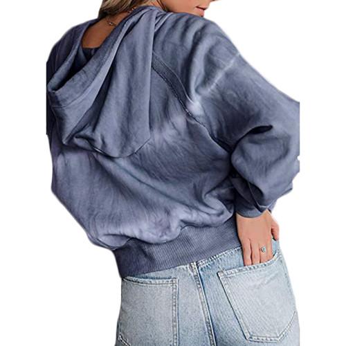 Navy Blue V Neck Tie Dye Print Hoodie TQK230162-34