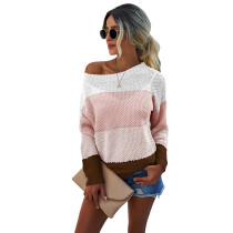Pink Colorblock Lightweight Pullover Sweater TQK271130-10