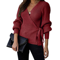Wine Red Wrap Front V Neck Knit Sweater TQK271129-103