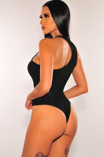 Black Ribbed Knit Asymmetrical Bodysuit LC32352-2
