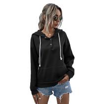 Black Button Neck Drawstring Long Sleeve Hoodie TQK230160-2