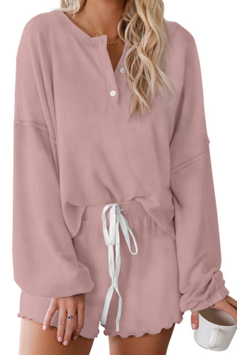 Pink Cotton Blend Slouchy Set LC451222-10