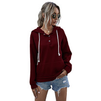 Wine Red Button Neck Drawstring Long Sleeve Hoodie TQK230160-103