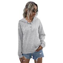 Light Gray Button Neck Drawstring Long Sleeve Hoodie TQK230160-25