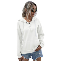 White Button Neck Drawstring Long Sleeve Hoodie TQK230160-1
