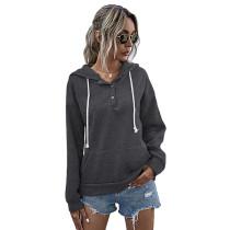 Dark Gray Button Neck Drawstring Long Sleeve Hoodie TQK230160-26