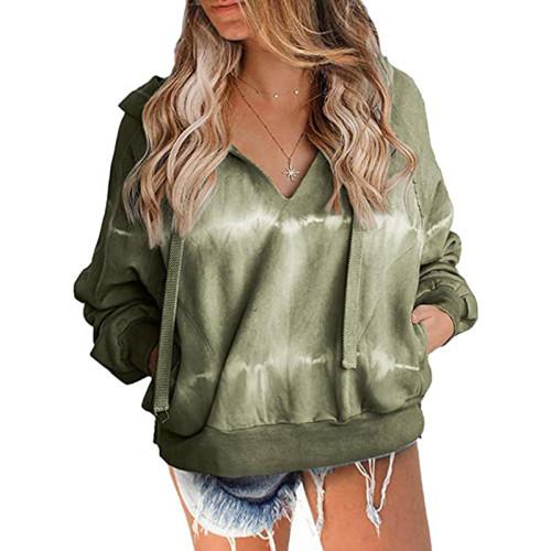 Army Green V Neck Tie Dye Print Hoodie TQK230162-27
