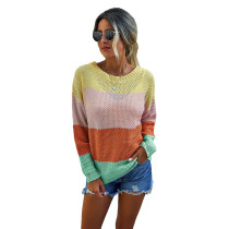 Yellow Colorblock Lightweight Pullover Sweater TQK271130-7