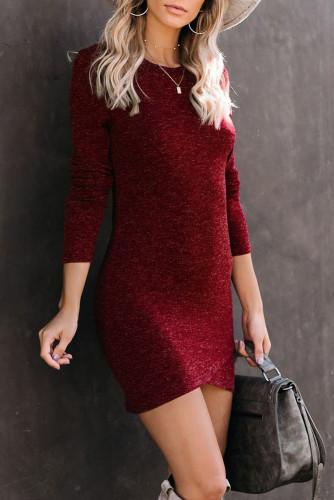 Red Long Sleeve Wrap Hem Mini Dress LC221762-3