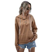 Khaki Button Neck Drawstring Long Sleeve Hoodie TQK230160-21