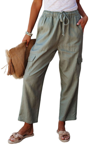 Green Driven Linen Blend Pocketed Cargo Pants LC77522-9