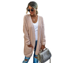 Pink Pocketed Open Front Cardigan TQK271131-10
