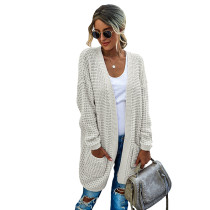 White Pocketed Open Front Cardigan TQK271131-1