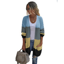 Blue Color Block Pocketed Cardigan TQK271131-5