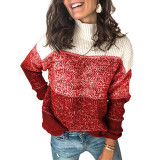 Wine Red Colorblock Knit Pullover Sweater TQK271111-103