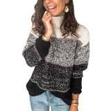 Black Colorblock Knit Pullover Sweater TQK271111-2