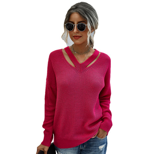 Rose V Neck Hollow Out Long Sleeve Sweater TQK271114-6