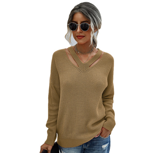 Khaki V Neck Hollow Out Long Sleeve Sweater TQK271114-21