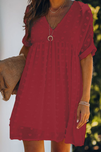 Red Fever Pitch Pom Babydoll Tunic Dress LC221554-3