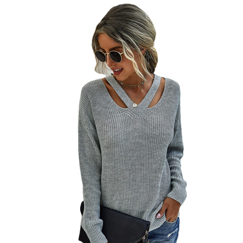 Gray V Neck Hollow Out Long Sleeve Sweater TQK271114-11