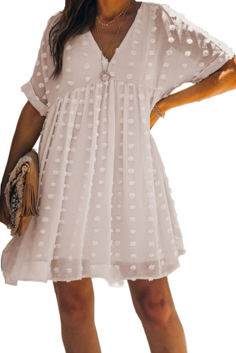 White Fever Pitch Pom Babydoll Tunic Dress LC221554-1