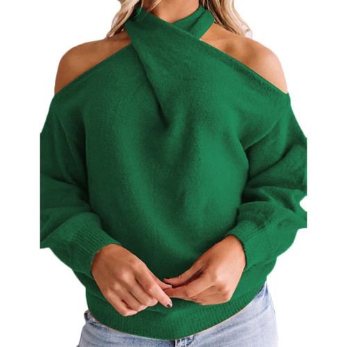 Green Cold Shoulder Multiway Knit Sweaterr TQK271112-9