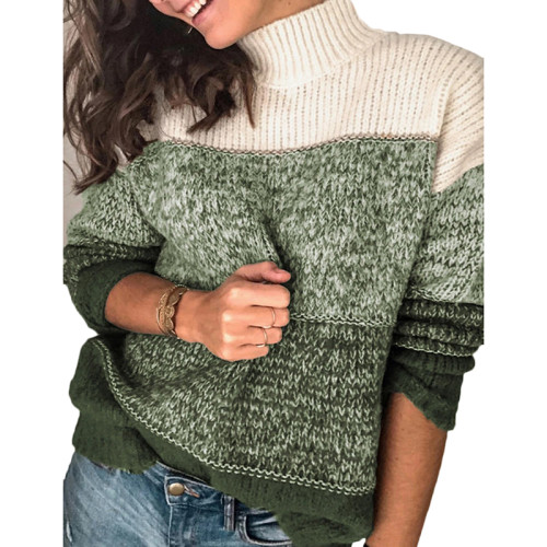 Green Colorblock Knit Pullover Sweater TQK271111-9