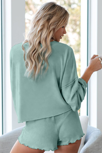 Green Cotton Blend Slouchy Set LC451222-9