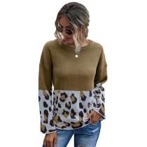 Khaki Splice Leopard Print Pullover Sweater TQK271120-21