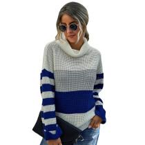 Blue Colorblock Cowl Neck Striped Sweater TQK271119-5