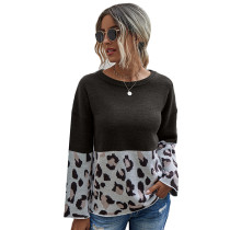 Black Splice Leopard Print Pullover Sweater TQK271120-2