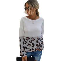 White Splice Leopard Print Pullover Sweater TQK271120-1