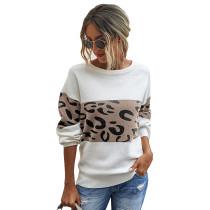 Khaki Splice Leopard Long Sleeve Pullover Sweater TQK271121-21
