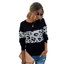 Black Splice Leopard Long Sleeve Pullover Sweater TQK271121-2