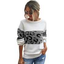 Gray Splice Leopard Long Sleeve Pullover Sweater TQK271121-11