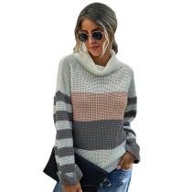 Gray Colorblock Cowl Neck Striped Sweater TQK271119-11