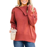 Rust Red Buttoned Cowl Neck Sweater TQK271113-33