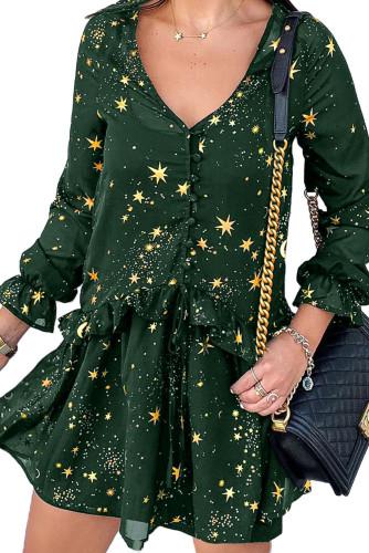 Green Shimmer Ruffle V Neck Stars Print Long Sleeve Casual Short Dress LC221221-9