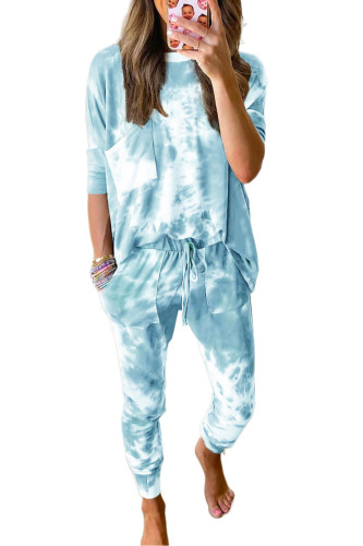 Sky Blue Tie-dye Loungewear Set LC451213-4
