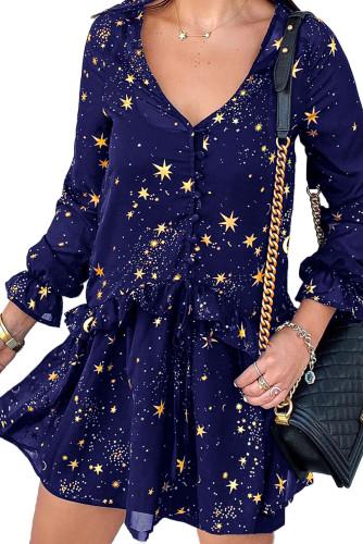 Blue Shimmer Ruffle V Neck Stars Print Long Sleeve Casual Short Dress LC221221-5