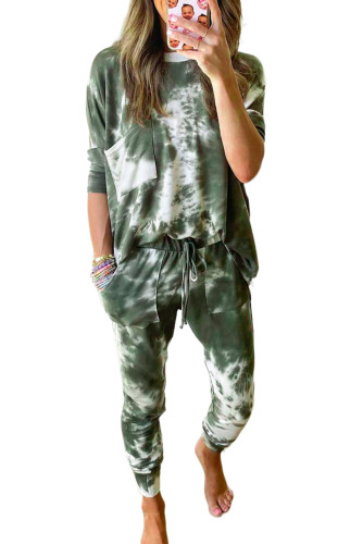 Green Tie-dye Loungewear Set LC451213-9