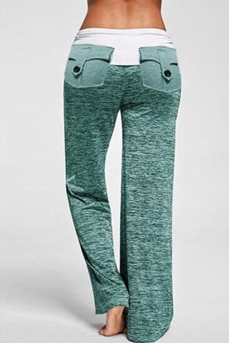 Green Drawstring Pockets Stretch Wide Leg Yoga Pants LC77389-9
