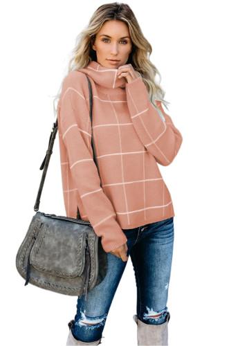 Beige Grid Pattern Turtleneck Sweater LC270176-15