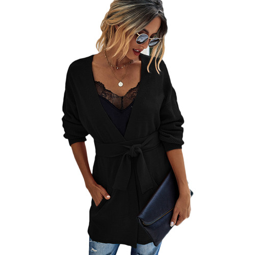 Black French Retro Lace-Up Knit Cardigan TQK271125-2