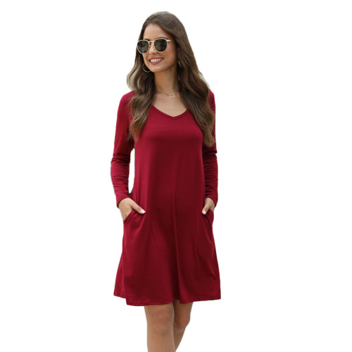 Wine Red Cotton Blend Pocketed Casual Dress TQK310362-103