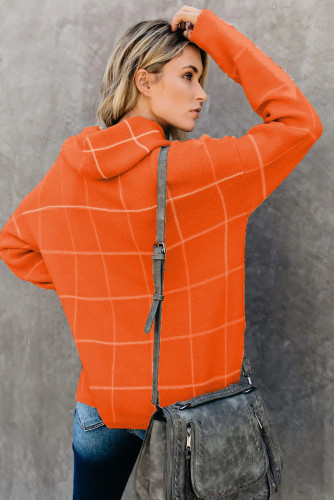 Orange Grid Pattern Turtleneck Sweater LC270176-14