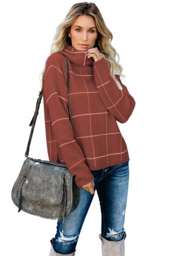 Brown Grid Pattern Turtleneck Sweater LC270176-17
