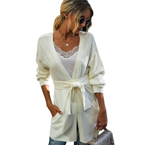 White French Retro Lace-Up Knit Cardigan TQK271125-1