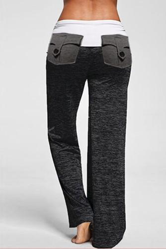 Black Drawstring Pockets Stretch Wide Leg Yoga Pants LC77389-2